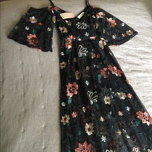 NWT Black Embroidered Floral High Low Dress